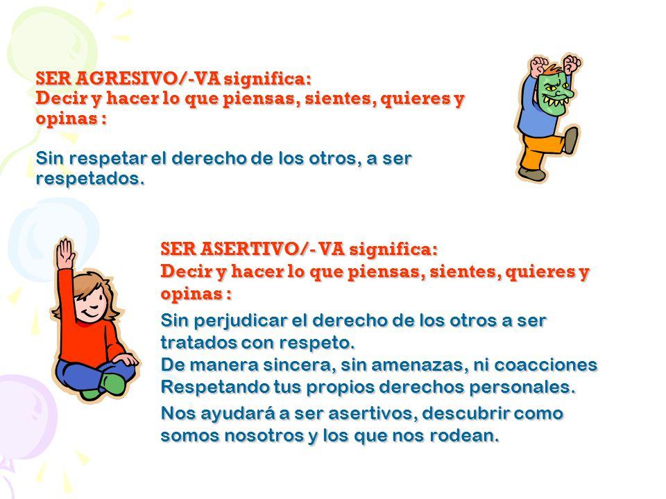 SER AGRESIVO/-VA significa: Decir y hacer lo que piensas, sientes, quieres y opinas : Sin respetar el derecho de los otros, a ser respetados.