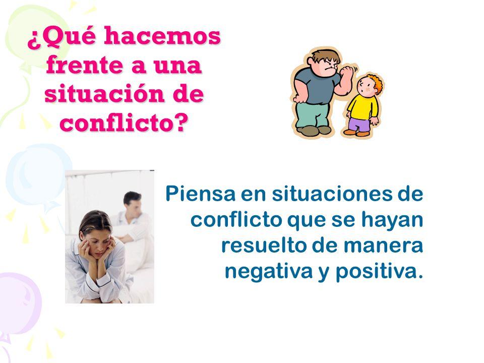 ¿Qué hacemos frente a una situación de conflicto