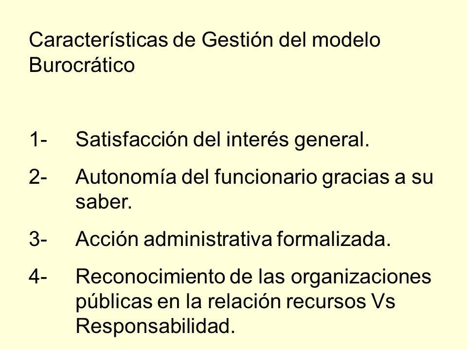 Características de Gestión del modelo Burocrático