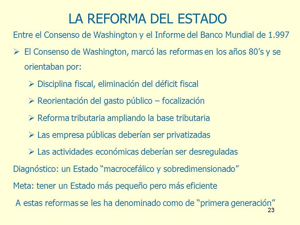 LA REFORMA DEL ESTADO Entre el Consenso de Washington y el Informe del Banco Mundial de 1.997.
