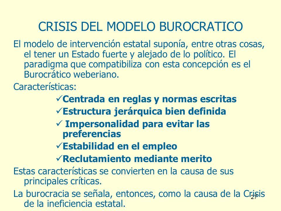 CRISIS DEL MODELO BUROCRATICO