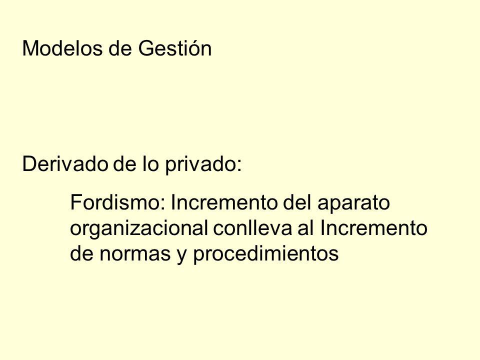 Modelos de GestiónDerivado de lo privado: Fordismo: Incremento del aparato organizacional conlleva al Incremento de normas y procedimientos.
