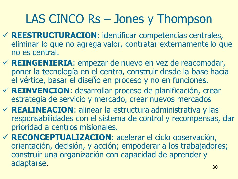 LAS CINCO Rs – Jones y Thompson