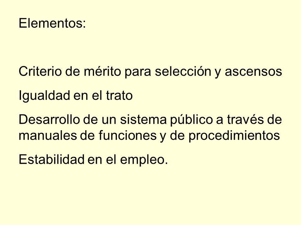 Elementos:Criterio de mérito para selección y ascensos. Igualdad en el trato.