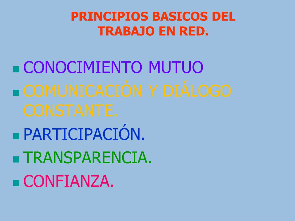 PRINCIPIOS BASICOS DEL TRABAJO EN RED.