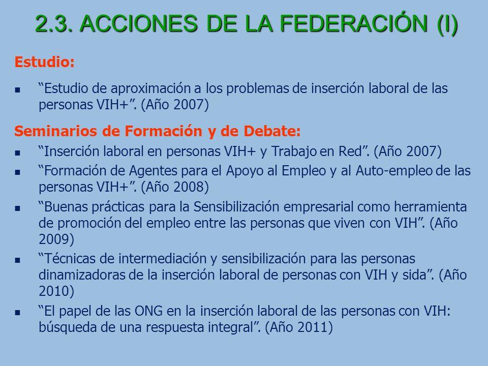 2.3. ACCIONES DE LA FEDERACIÓN (I)