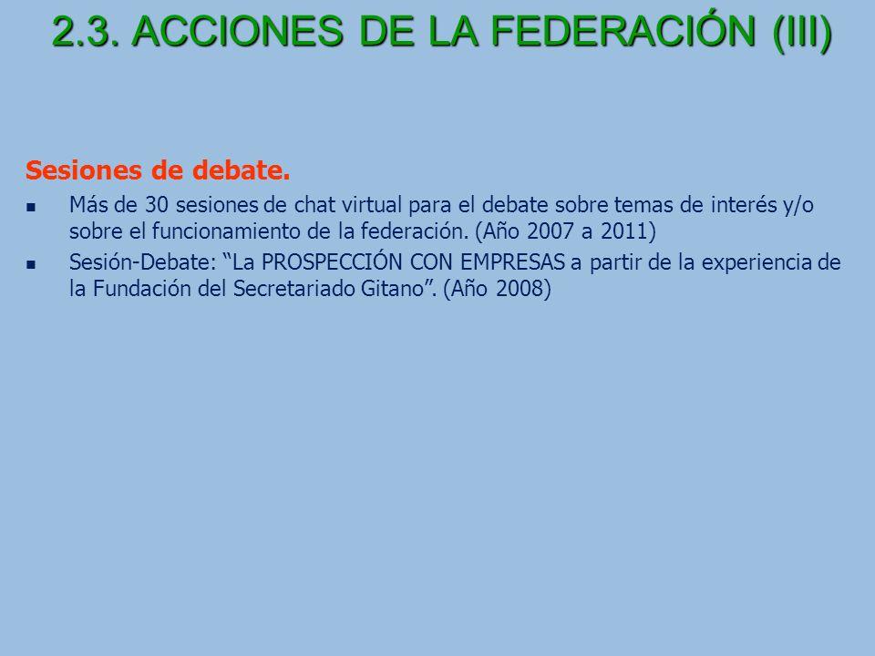 2.3. ACCIONES DE LA FEDERACIÓN (III)