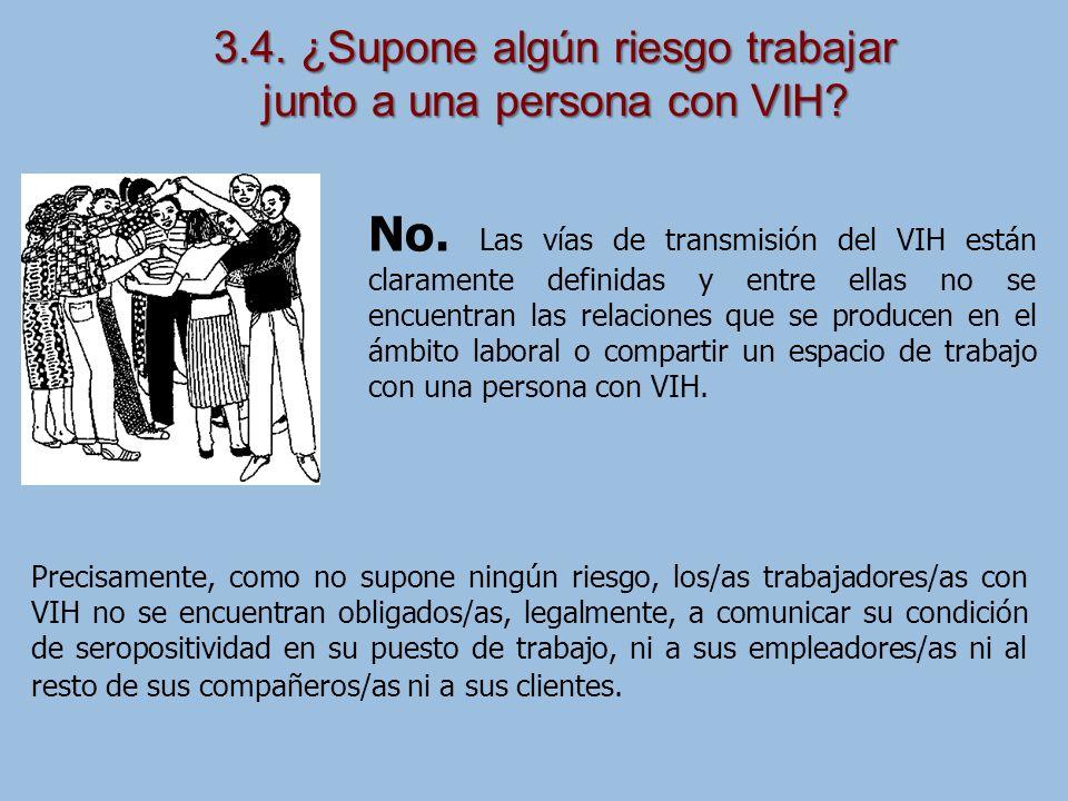 3.4. ¿Supone algún riesgo trabajar junto a una persona con VIH