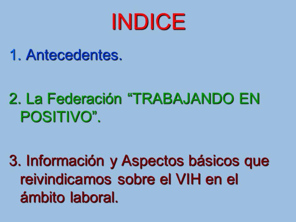 INDICE 1. Antecedentes. 2. La Federación TRABAJANDO EN POSITIVO .