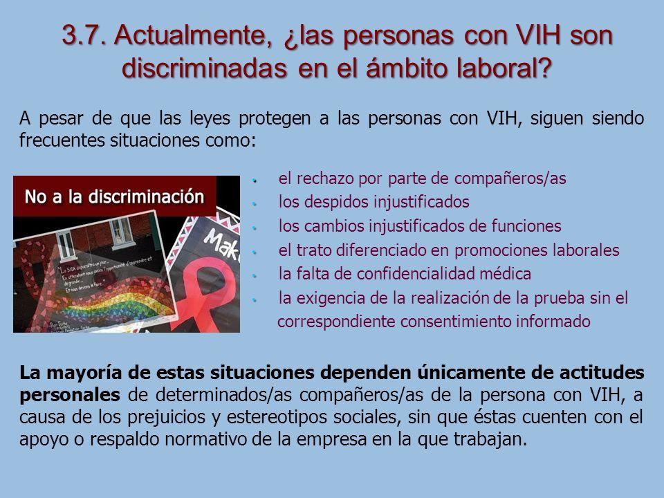 3.7. Actualmente, ¿las personas con VIH son discriminadas en el ámbito laboral