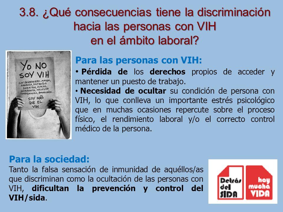 3.8. ¿Qué consecuencias tiene la discriminación hacia las personas con VIH
