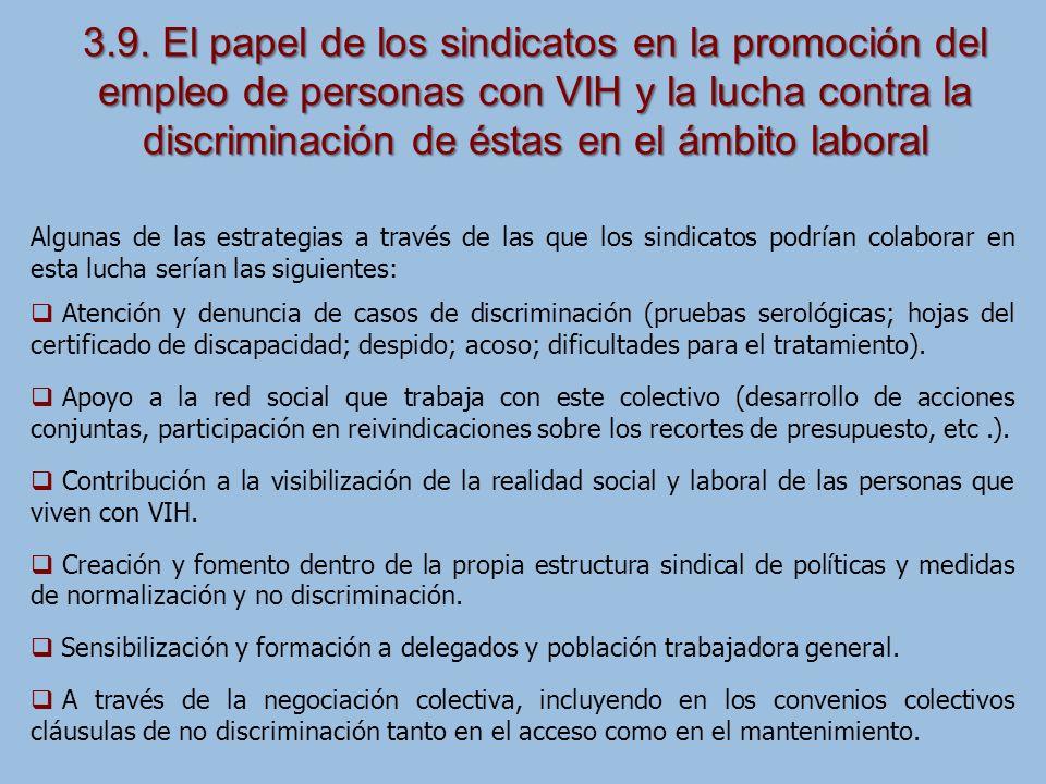 3.9. El papel de los sindicatos en la promoción del empleo de personas con VIH y la lucha contra la discriminación de éstas en el ámbito laboral