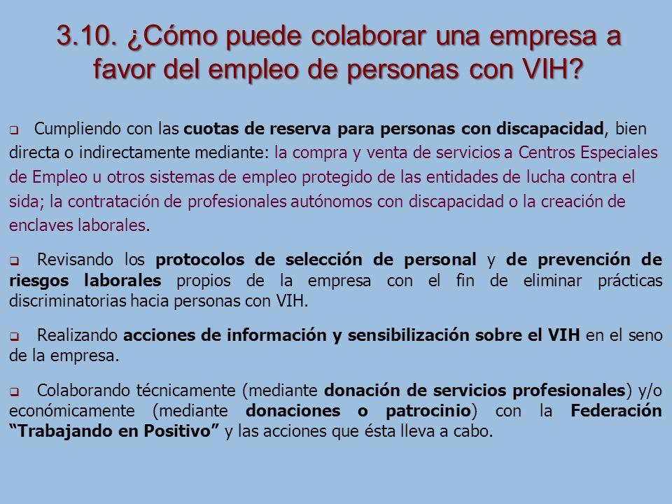 3.10. ¿Cómo puede colaborar una empresa a favor del empleo de personas con VIH