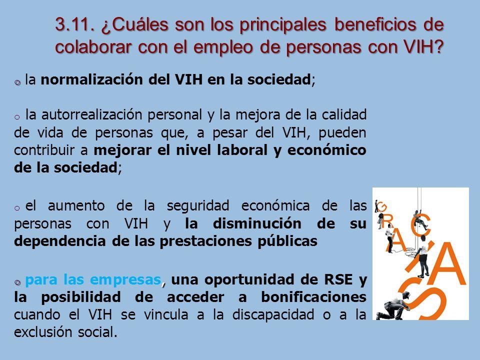 3.11. ¿Cuáles son los principales beneficios de colaborar con el empleo de personas con VIH