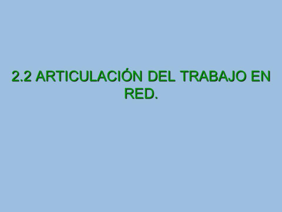2.2 ARTICULACIÓN DEL TRABAJO EN RED.