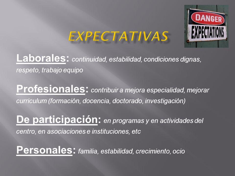 Expectativas Laborales: continuidad, estabilidad, condiciones dignas, respeto, trabajo equipo.
