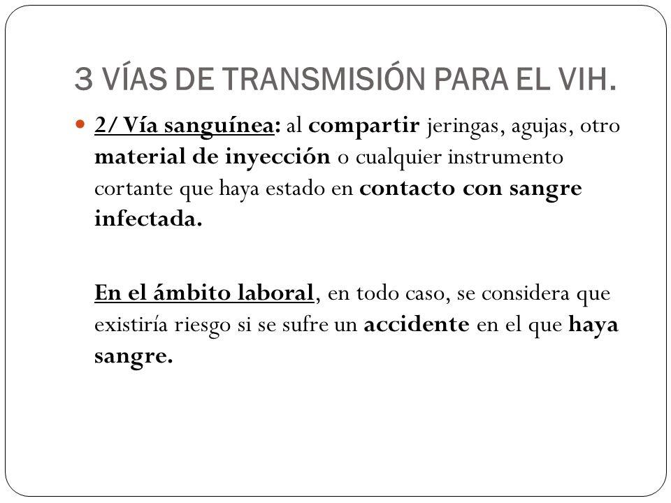 3 VÍAS DE TRANSMISIÓN PARA EL VIH.