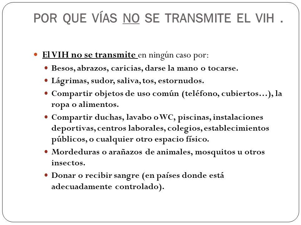 POR QUE VÍAS NO SE TRANSMITE EL VIH .
