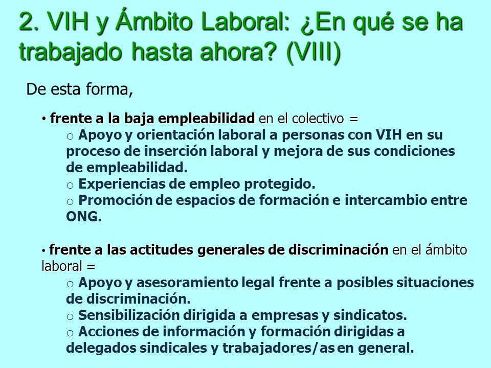 2. VIH y Ámbito Laboral: ¿En qué se ha trabajado hasta ahora (VIII)
