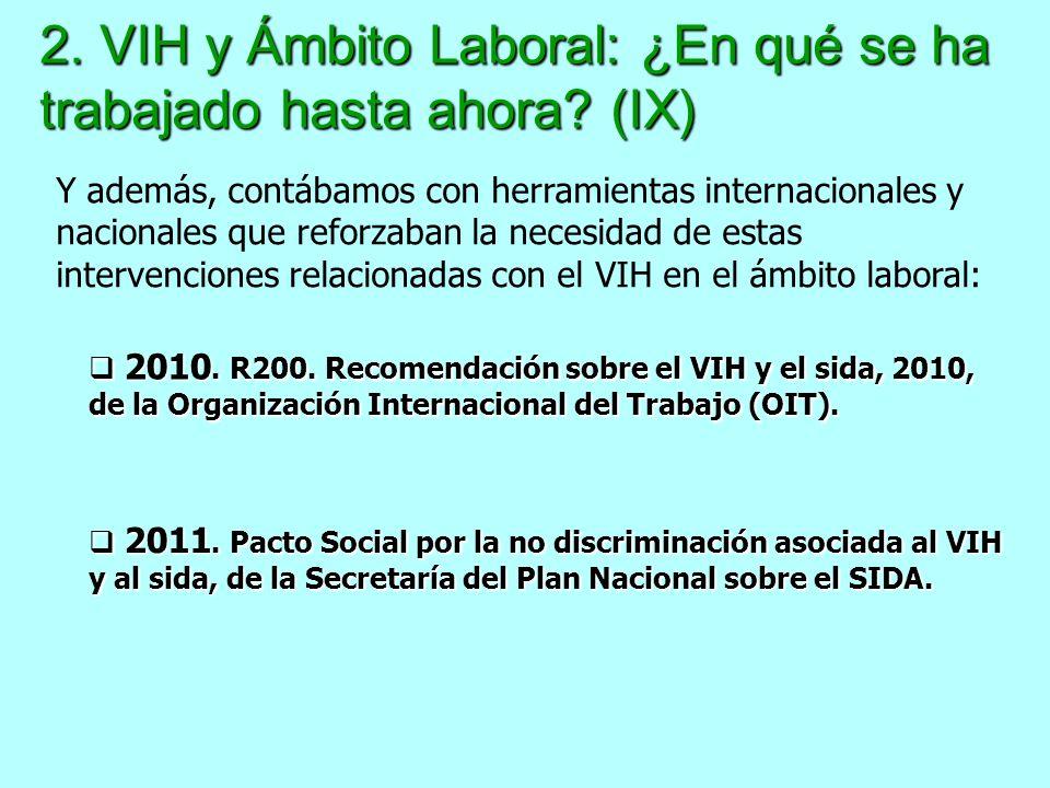 2. VIH y Ámbito Laboral: ¿En qué se ha trabajado hasta ahora (IX)