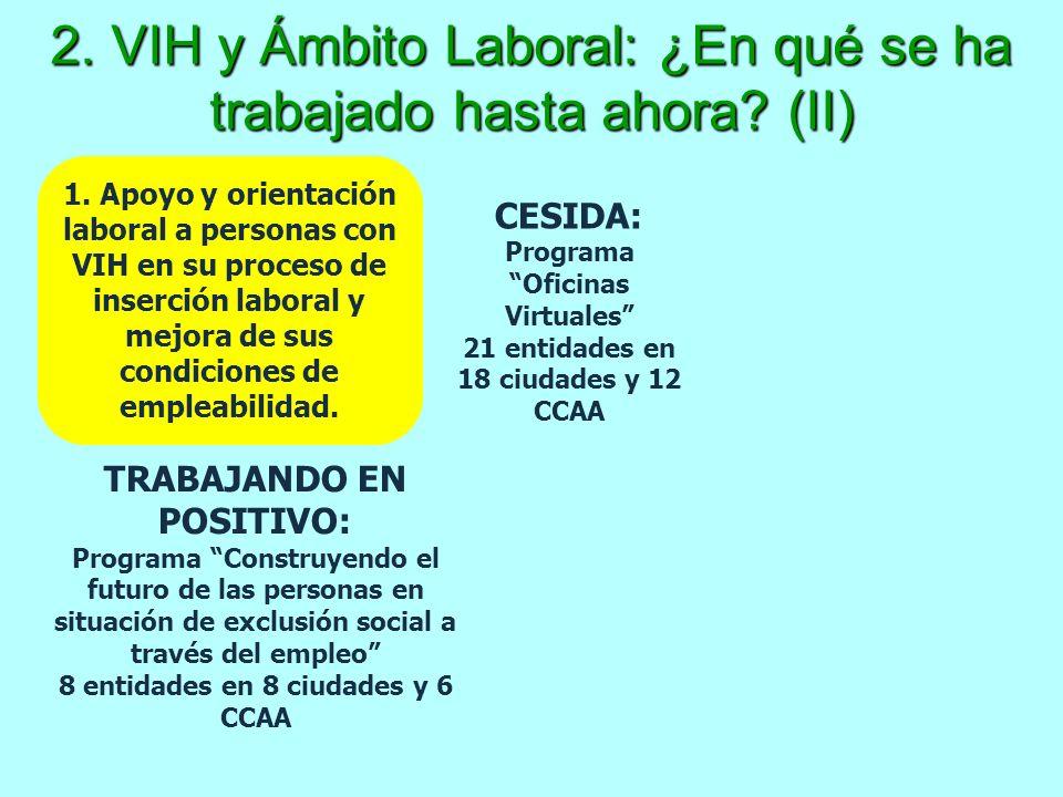 2. VIH y Ámbito Laboral: ¿En qué se ha trabajado hasta ahora (II)
