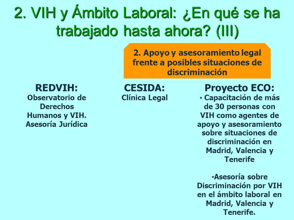 2. VIH y Ámbito Laboral: ¿En qué se ha trabajado hasta ahora (III)
