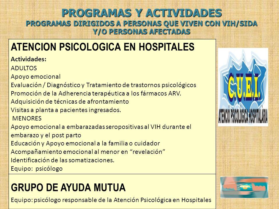ATENCION PSICOLOGICA EN HOSPITALES