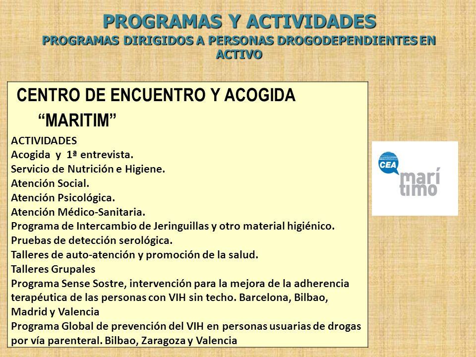 PROGRAMAS Y ACTIVIDADES PROGRAMAS DIRIGIDOS A PERSONAS DROGODEPENDIENTES EN ACTIVO