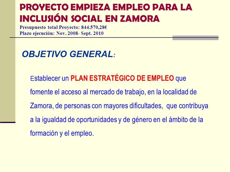PROYECTO EMPIEZA EMPLEO PARA LA INCLUSIÓN SOCIAL EN ZAMORA Presupuesto total Proyecto: 844.570,28€ Plazo ejecución: Nov. 2008- Sept. 2010