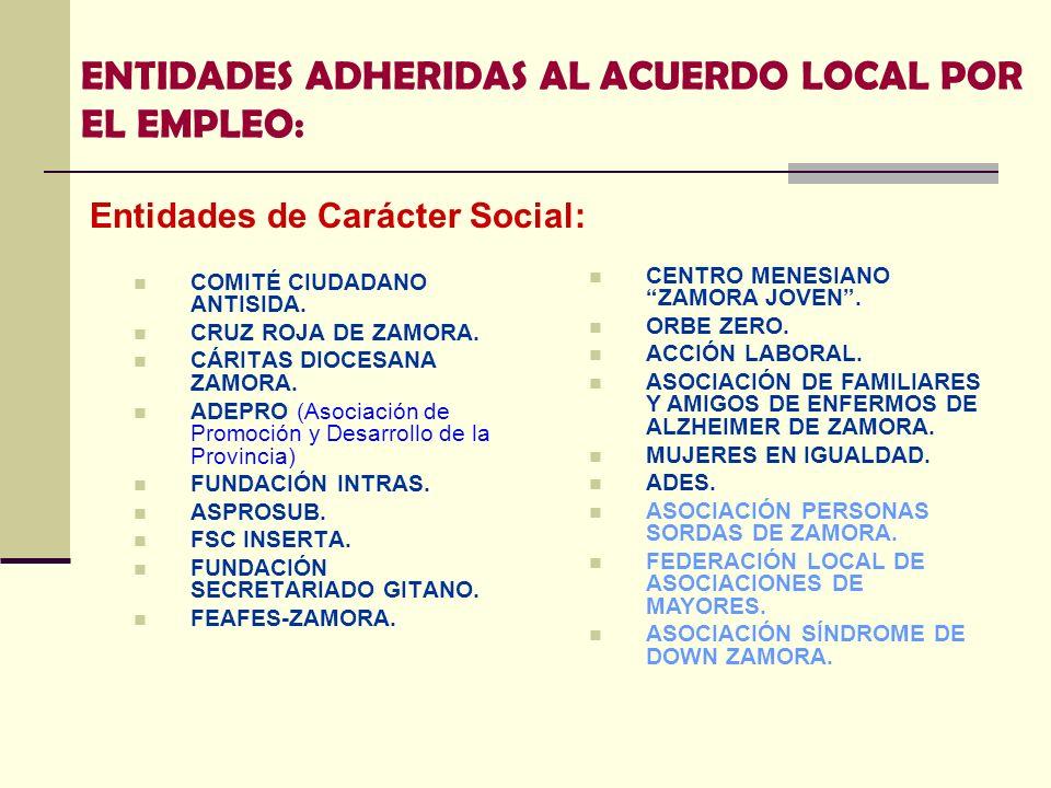 ENTIDADES ADHERIDAS AL ACUERDO LOCAL POR EL EMPLEO: