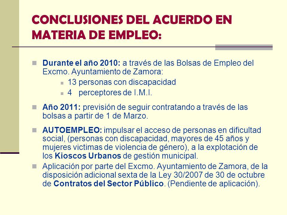 CONCLUSIONES DEL ACUERDO EN MATERIA DE EMPLEO: