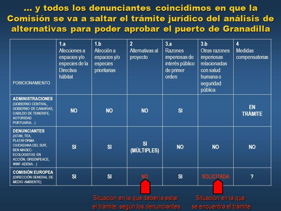 … y todos los denunciantes coincidimos en que la Comisión se va a saltar el trámite jurídico del análisis de alternativas para poder aprobar el puerto de Granadilla