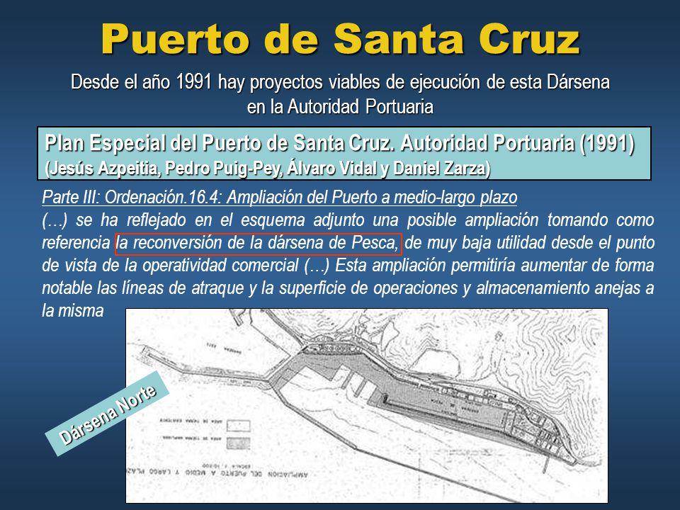 Puerto de Santa Cruz Desde el año 1991 hay proyectos viables de ejecución de esta Dársena en la Autoridad Portuaria.