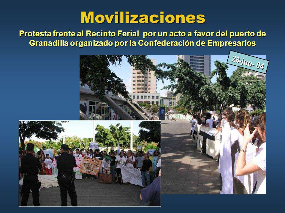 Movilizaciones Protesta frente al Recinto Ferial por un acto a favor del puerto de Granadilla organizado por la Confederación de Empresarios.