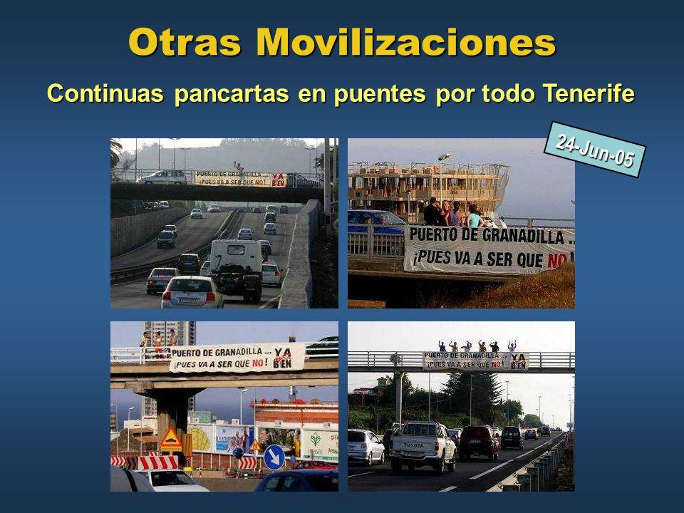 Continuas pancartas en puentes por todo Tenerife
