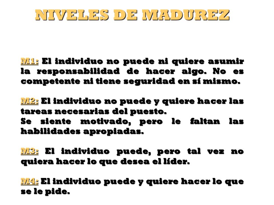 NIVELES DE MADUREZ M1: El individuo no puede ni quiere asumir la responsabilidad de hacer algo. No es competente ni tiene seguridad en sí mismo.