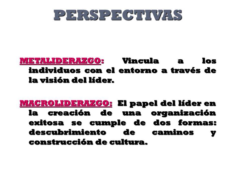PERSPECTIVASMETALIDERAZGO: Vincula a los individuos con el entorno a través de la visión del líder.