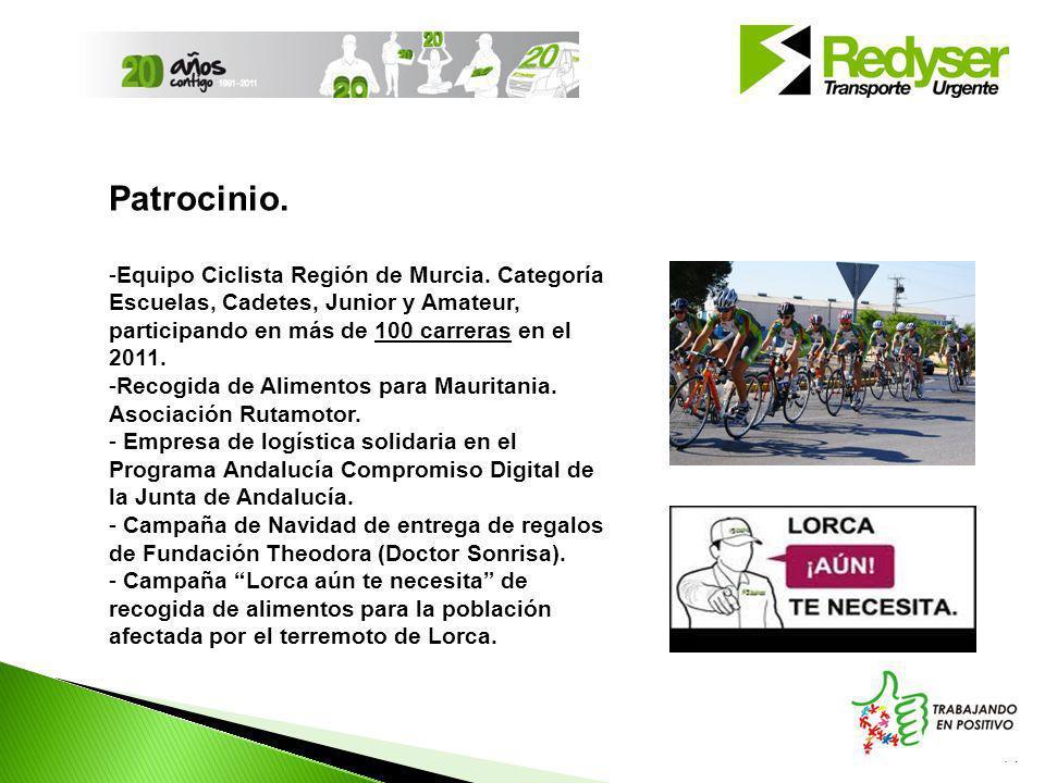 Patrocinio. Equipo Ciclista Región de Murcia. Categoría Escuelas, Cadetes, Junior y Amateur, participando en más de 100 carreras en el 2011.