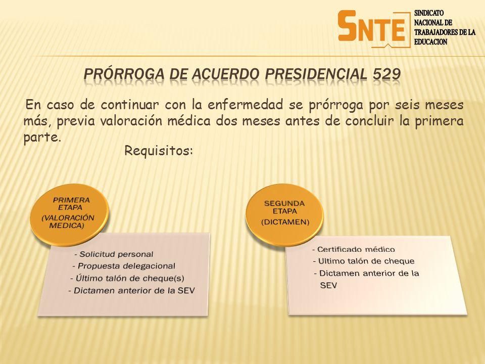 PrÓrroga de ACUERDO PRESIDENCIAL 529