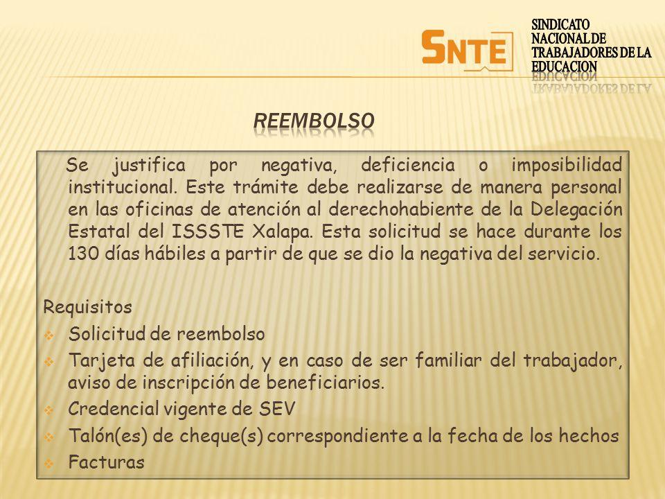 SINDICATO NACIONAL DE. TRABAJADORES DE LA. EDUCACION. REEMBOLSO.