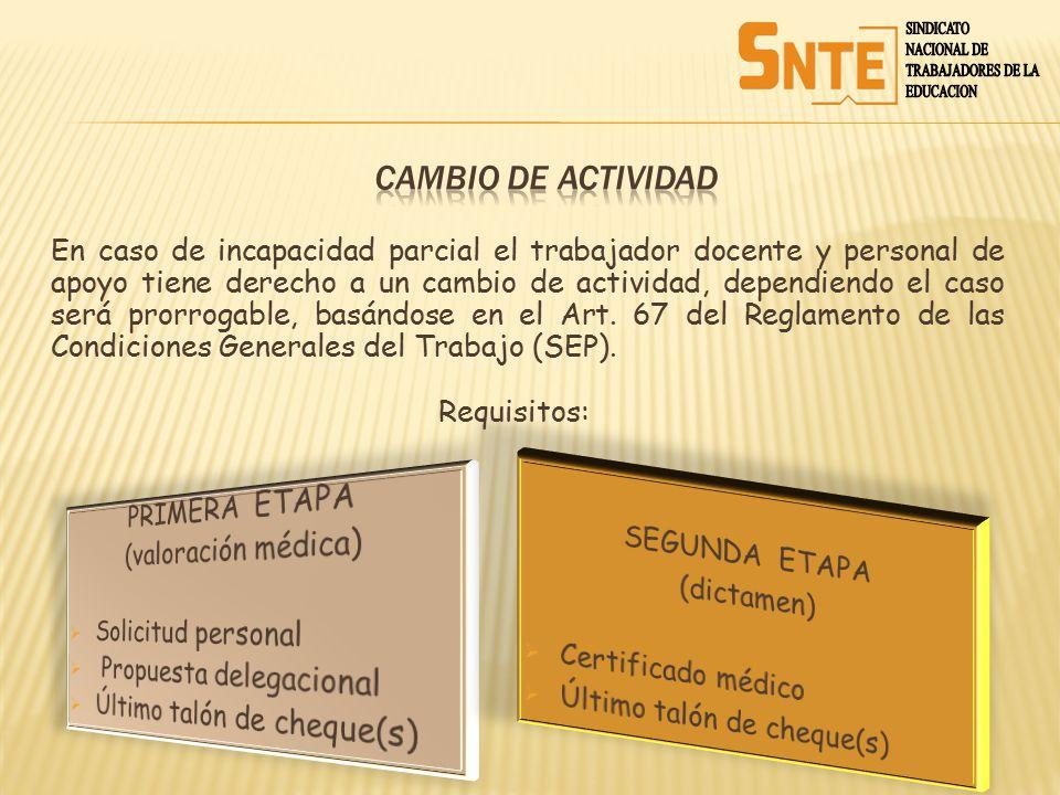 CAMBIO DE ACTIVIDAD PRIMERA ETAPA SEGUNDA ETAPA (valoración médica)