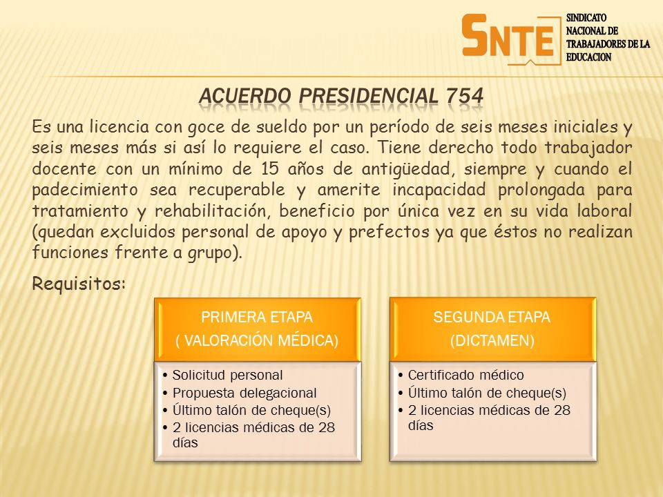 ACUERDO PRESIDENCIAL 754 Requisitos: