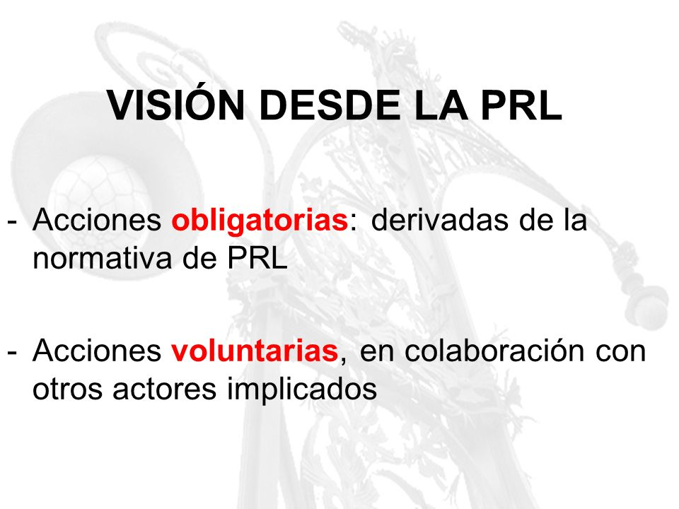 VISIÓN DESDE LA PRLAcciones obligatorias: derivadas de la normativa de PRL.