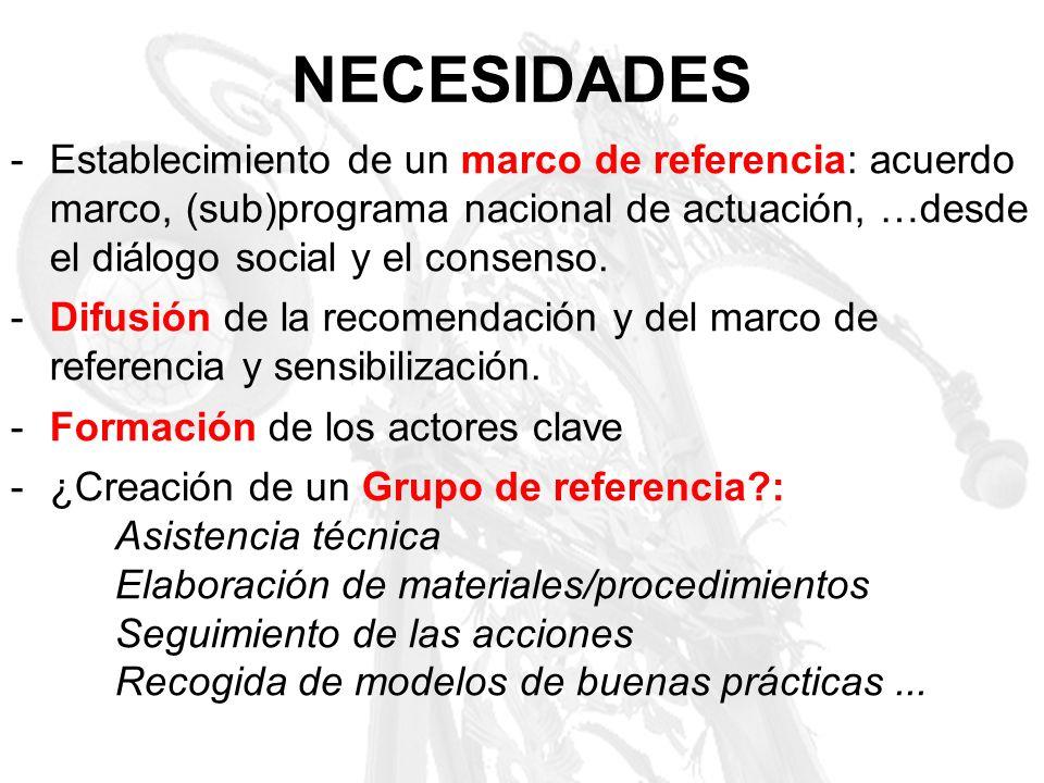 NECESIDADES Establecimiento de un marco de referencia: acuerdo marco, (sub)programa nacional de actuación, …desde el diálogo social y el consenso.