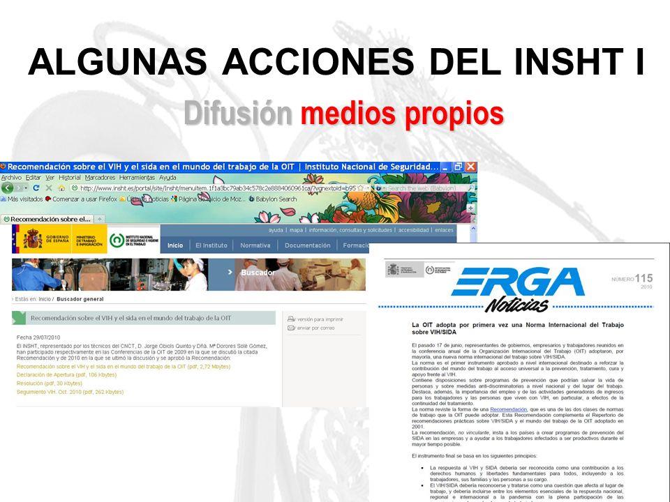 ALGUNAS ACCIONES DEL INSHT I