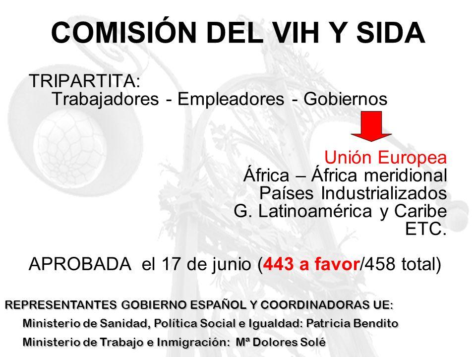 COMISIÓN DEL VIH Y SIDATRIPARTITA: Trabajadores - Empleadores - Gobiernos. Unión Europea. África – África meridional.