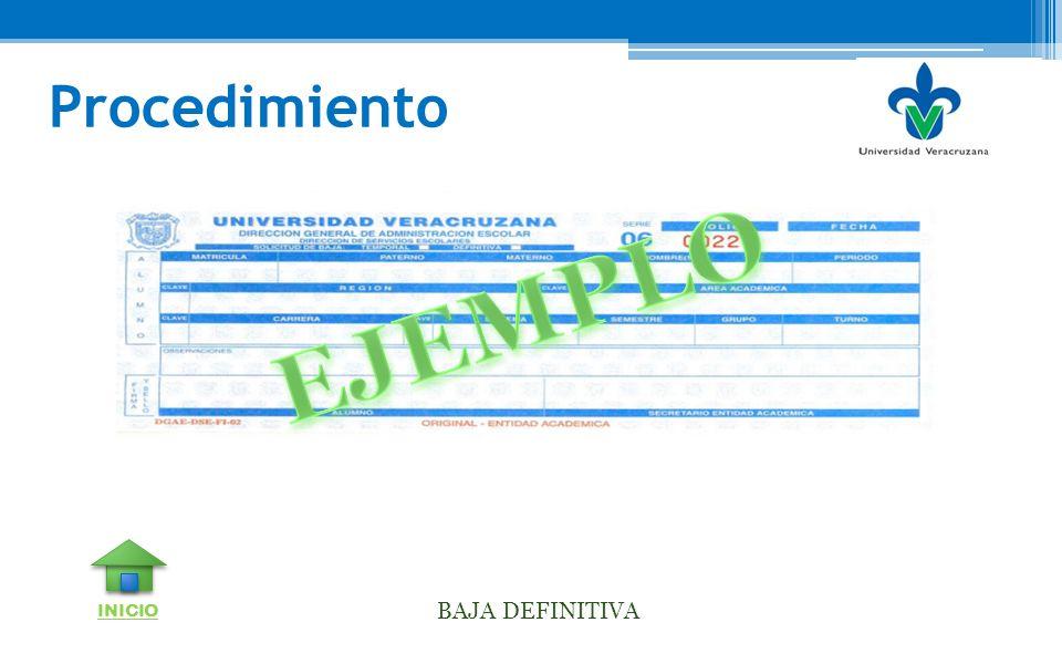 Procedimiento EJEMPLO INICIO BAJA DEFINITIVA
