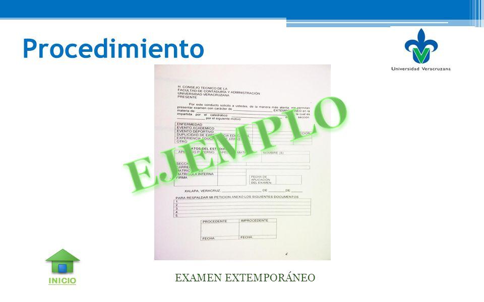 Procedimiento EJEMPLO EXAMEN EXTEMPORÁNEO INICIO