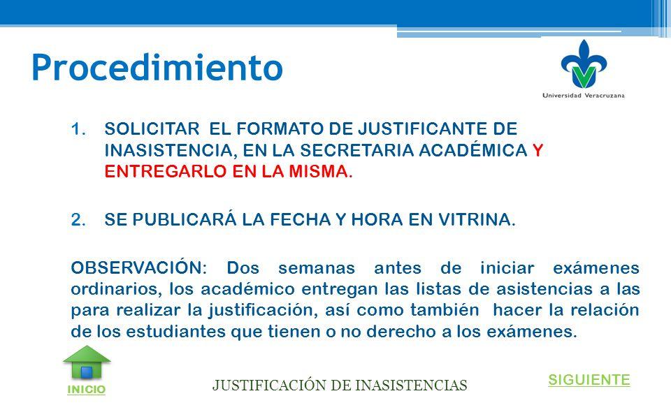 JUSTIFICACIÓN DE INASISTENCIAS