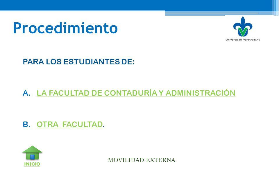 Procedimiento PARA LOS ESTUDIANTES DE: